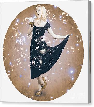 Cocktail Party Poster Girl Dancing In Retro Bar Canvas Print by Jorgo Photography - Wall Art Gallery