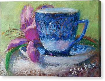 Coffee And Flowers Canvas Print by Nancy Stutes
