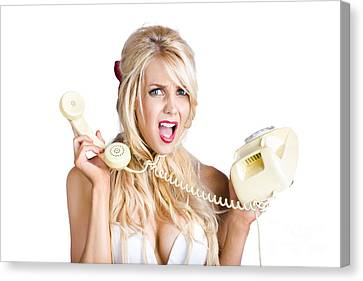Confused Woman With Retro Phone Canvas Print by Jorgo Photography - Wall Art Gallery