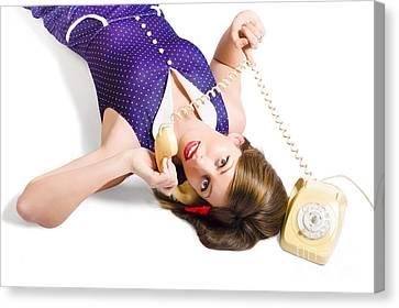 Cool Pin-up Girl Making Conversation On Telephone Canvas Print by Jorgo Photography - Wall Art Gallery