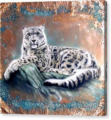 Copper Snow Leopard Canvas Print by Sandi Baker