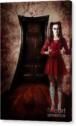 Creepy Woman With Bloody Scissors In Haunted House Canvas Print by Jorgo Photography - Wall Art Gallery