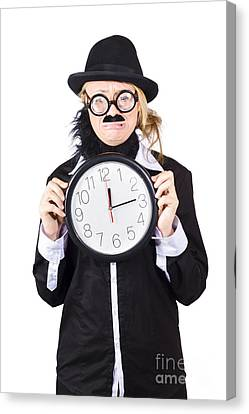 Crying Woman In Disguise Holding Clock Canvas Print by Jorgo Photography - Wall Art Gallery