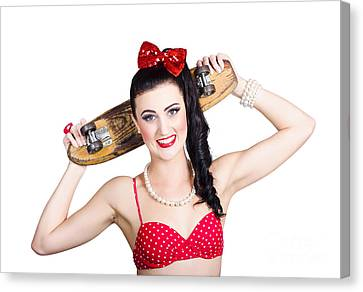 Cute Pinup Skater Girl In Punk Glam Fashion Canvas Print by Jorgo Photography - Wall Art Gallery