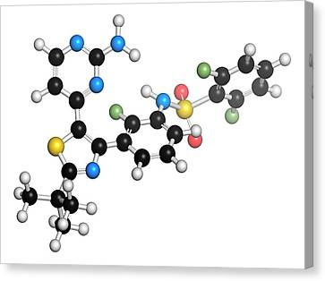 Dabrafenib Melanoma Cancer Drug Molecule Canvas Print by Molekuul