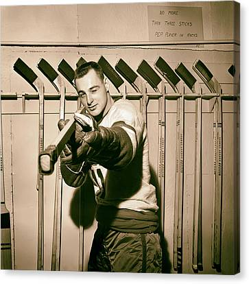 Dan Belisle Of The Vancouver Canucks 1960 Canvas Print by Mountain Dreams