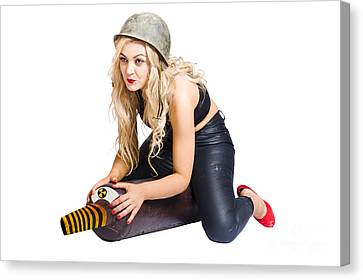 Danger Pin Up Girl Riding On Nuclear Bomb Canvas Print by Jorgo Photography - Wall Art Gallery