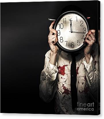 Dead Business Person Holding End Of Time Clock Canvas Print by Jorgo Photography - Wall Art Gallery
