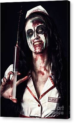 Dead Nurse Taking Blood Donation With Syringe Canvas Print by Jorgo Photography - Wall Art Gallery