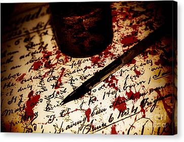 Death Certificate Signed In Blood Canvas Print by Jorgo Photography - Wall Art Gallery