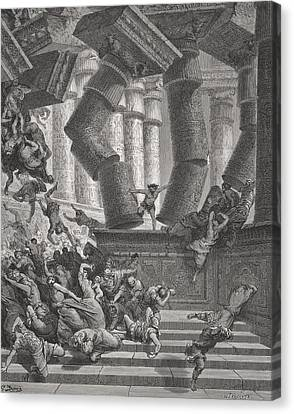 Death Of Samson Canvas Print by Gustave Dore