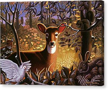 Deer In The Forest Canvas Print by Robin Moline