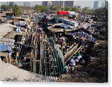 Dhobi Ghat Open-air Laundry Canvas Print by Mark Williamson