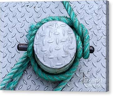 Dock Bollard With Green Boat Rope Canvas Print by Iris Richardson
