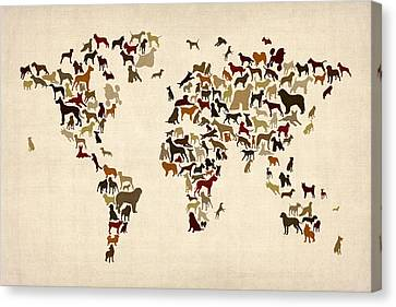 Dogs Map Of The World Map Canvas Print by Michael Tompsett