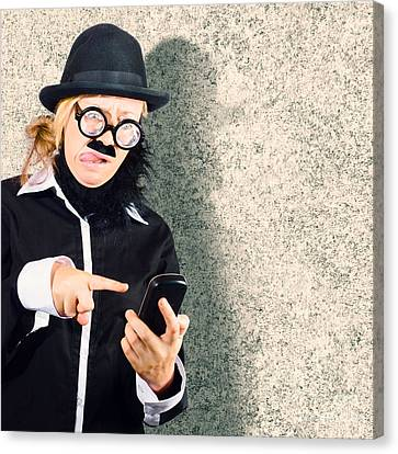 Dorky Businessman Texting On Mobile Smart Phone Canvas Print by Jorgo Photography - Wall Art Gallery