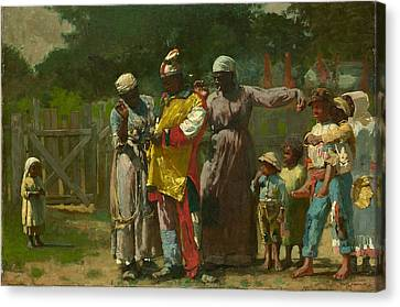 Dressing For The Carnival Canvas Print by Winslow Homer