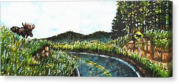 Driving In Maine Canvas Print by Shana Rowe Jackson