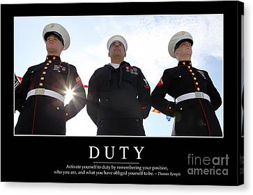 Duty Inspirational Quote Canvas Print by Stocktrek Images