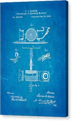 Edison Phonograph Patent Art 1878 Blueprint Canvas Print by Ian Monk