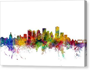 Edmonton Canada Skyline Canvas Print by Michael Tompsett