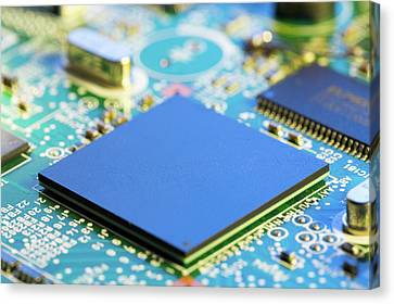 Electronic Printed Circuit Board Canvas Print by Wladimir Bulgar