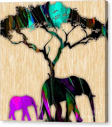 Elephants Canvas Print by Marvin Blaine