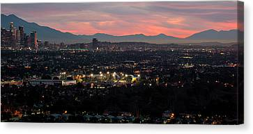 Elevated View Of Downtown Los Angeles Canvas Print by Panoramic Images