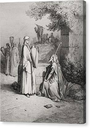 Eliezer And Rebekah Canvas Print by Gustave Dore