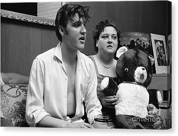 Elvis Presley And His Mother Gladys 1956 Canvas Print by The Phillip Harrington Collection