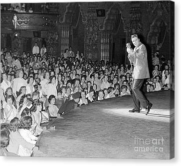 Elvis Presley In Concert At The Fox Theater Detroit 1956 Canvas Print by The Phillip Harrington Collection