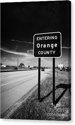 Entering Orange County On The Us 192 Highway Near Orlando Florida Usa Canvas Print by Joe Fox