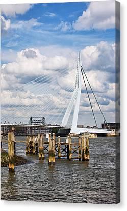 Erasmus Bridge In Rotterdam Canvas Print by Artur Bogacki