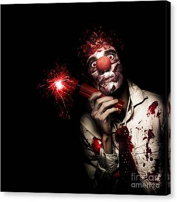 Evil Male Business Clown Holding Explosive Bomb Canvas Print by Jorgo Photography - Wall Art Gallery