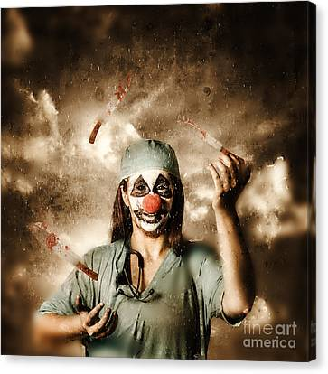 Evil Surgeon Clown Juggling Bloody Knives Outside Canvas Print by Jorgo Photography - Wall Art Gallery