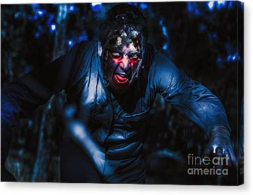 Evil Zombie Man Creeping Though Black Shadows Canvas Print by Jorgo Photography - Wall Art Gallery