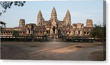 Facade Of A Temple, Angkor Wat, Angkor Canvas Print by Panoramic Images