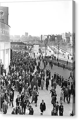 Fans Leaving Yankee Stadium. Canvas Print by Underwood Archives