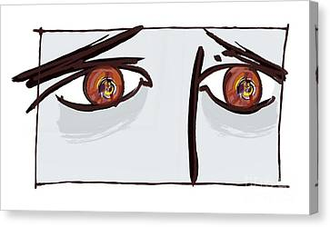Fearful Eyes, Artwork Canvas Print by Paul Brown
