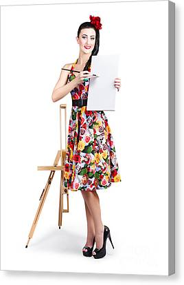 Female Artist Painting Message On Blank Canvas  Canvas Print by Jorgo Photography - Wall Art Gallery