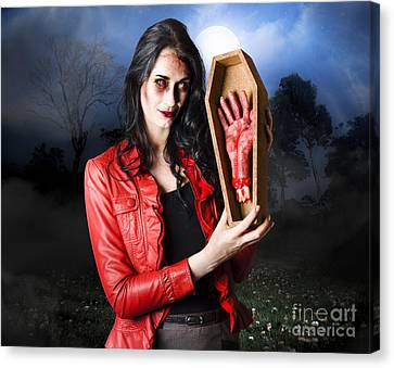 Female Grave Robber Stealing Limbs And Body Parts Canvas Print by Jorgo Photography - Wall Art Gallery