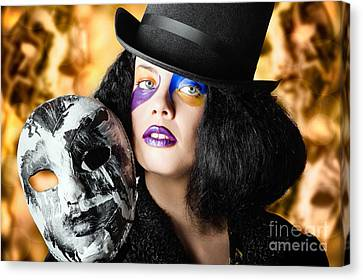 Female Jester Holding Carnival Mask. Halloween Fete  Canvas Print by Jorgo Photography - Wall Art Gallery