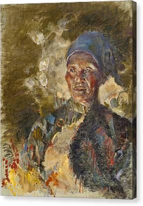 Firelit Woman Canvas Print by Ellen Dreibelbis