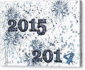 Fireworks And Stars Happy New Year 2015 Canvas Print by Marianne Campolongo