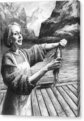 Fish Woman Canvas Print by Mark Zelmer