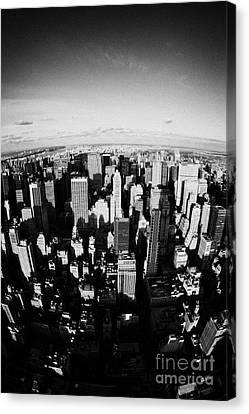 Fisheye View North Towards Central Park New York City Usa Canvas Print by Joe Fox