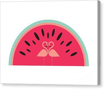 Flamingo Watermelon Canvas Print by Susan Claire
