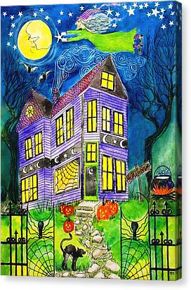 Flight Of The Moon Witch On Hallows Eve Canvas Print by Janet Immordino
