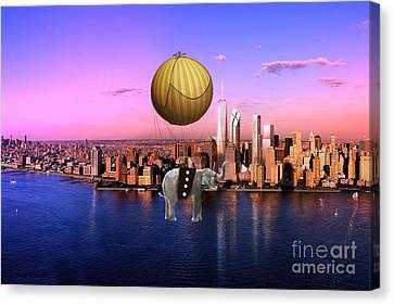 Flight Over The New York Skyline On A Hot Air Balloon Canvas Print by Marvin Blaine