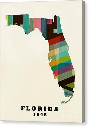 Florida State Map Modern Canvas Print by Bri B